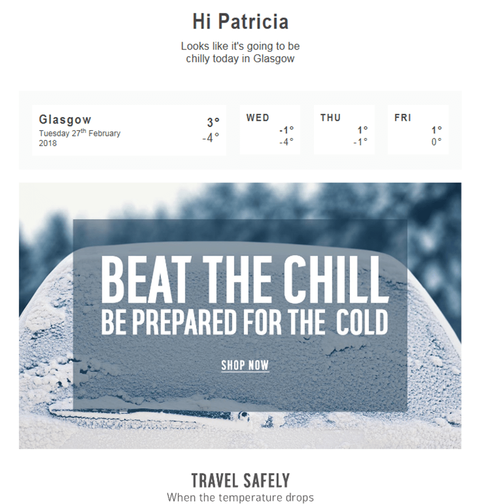 Argos segment their email list by the current weather