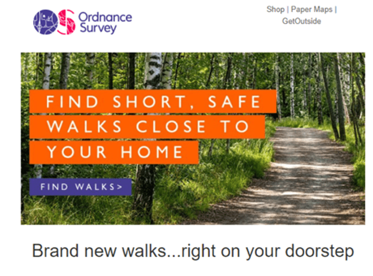 Ordance Survey segment their email list by geographic location