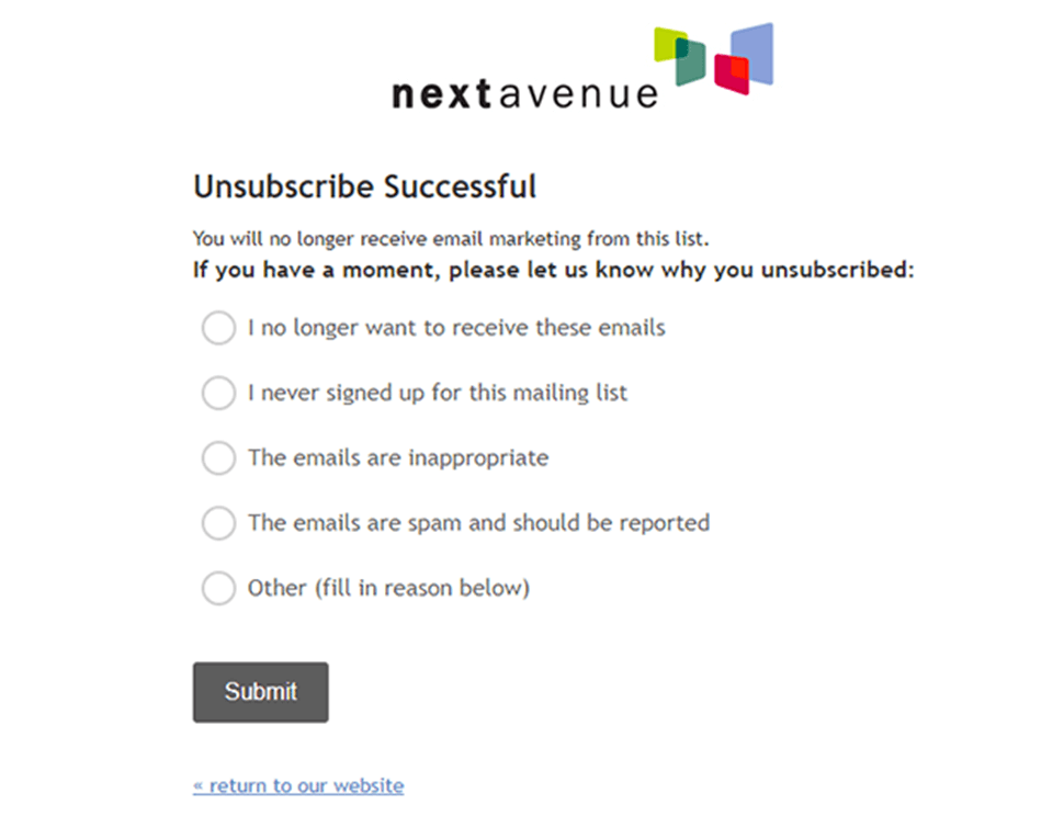 Send a survey after they unsubscribed