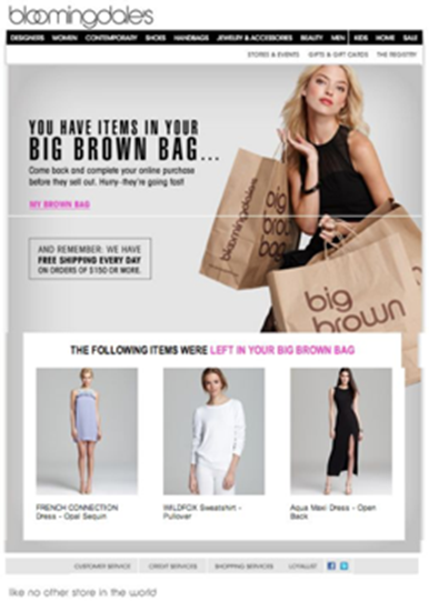 Bloomingdales' iconic brown bag is a great cart abandonment email for the happy holidays