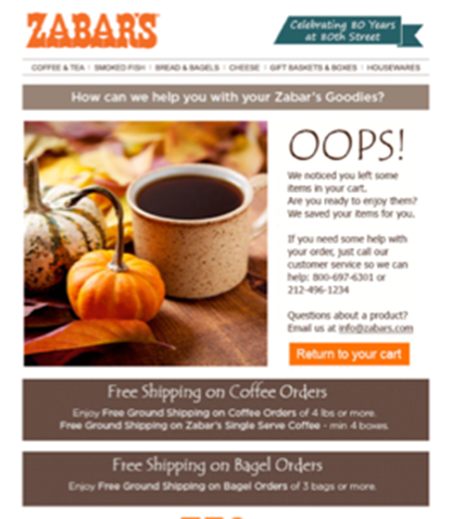 Zabar's uses cart abandonment emails to easily increase revenue