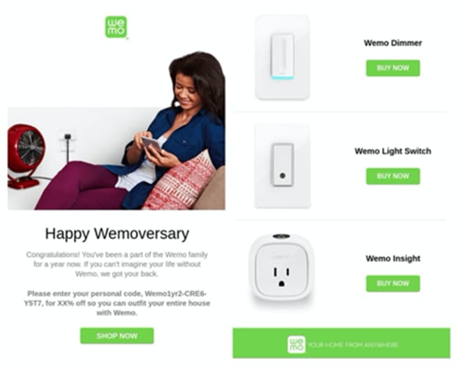 Celebrating an anniversary is a great email personalization tactic